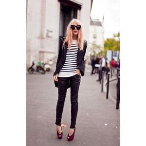 skinny-jeans-striped-top-blazer-and-peep-toe-heels-fall-winter-outfit